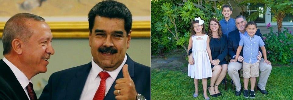 صعب مع زوجته وأبنائهما الثلاثة، وأردوغان مع نيكولاس مادورو