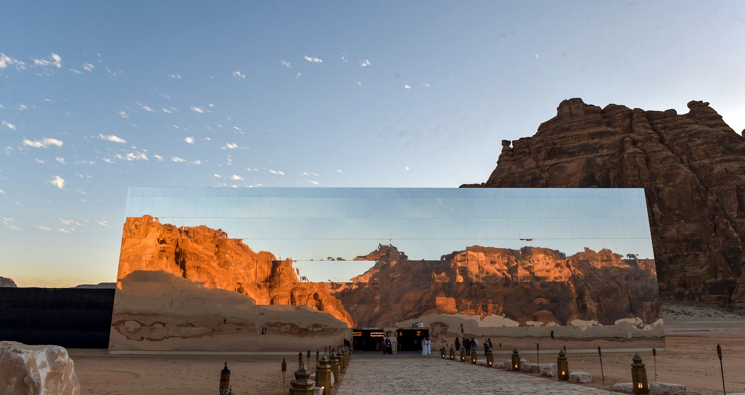 """A view of the facade of the Maraya (Arabic for """"Mirror"""") concert hall hosting the first """"Winter at Tantora"""" music carnival in the ruins of Al-Ula. (File photo: AFP)"""