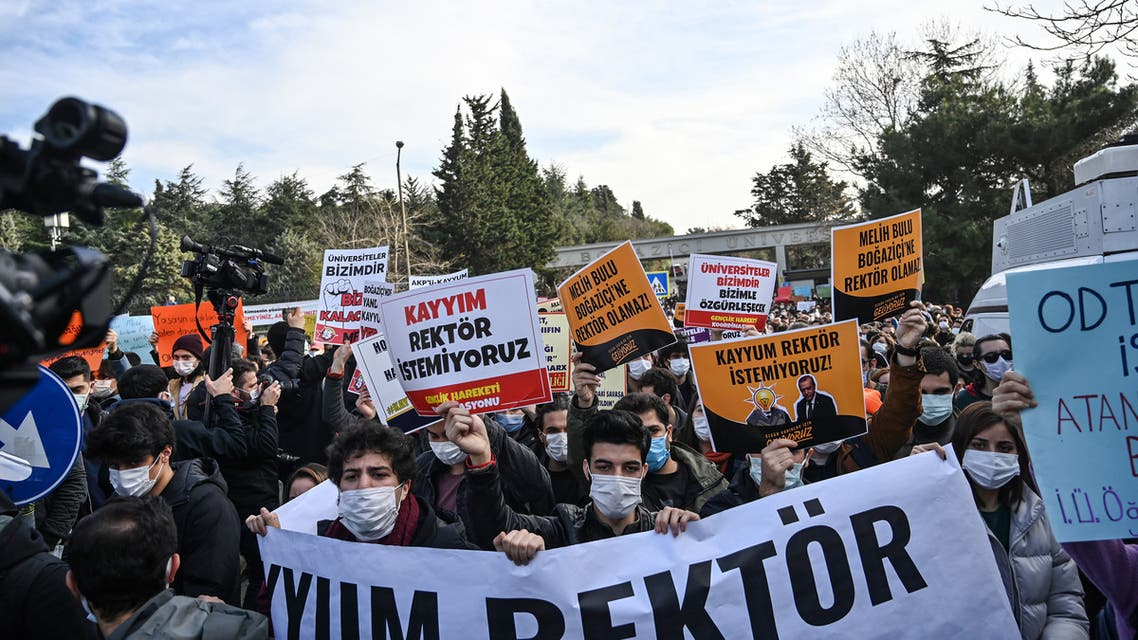 Students demonstrate against the direct appointment Bogazici university's new rector by Turkish President, on January 4, 2021. (AFP)