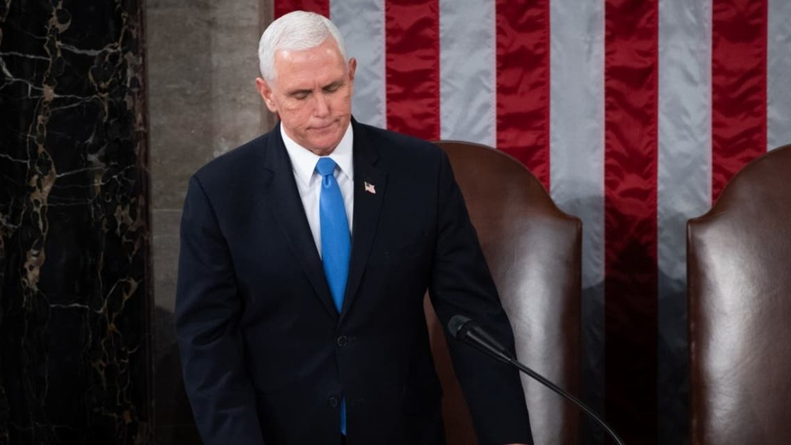 U.S. Vice President Mike Pence presides over a joint session of Congress on January 06, 2021 in Washington, DC. Congress held a joint session. (AFP)