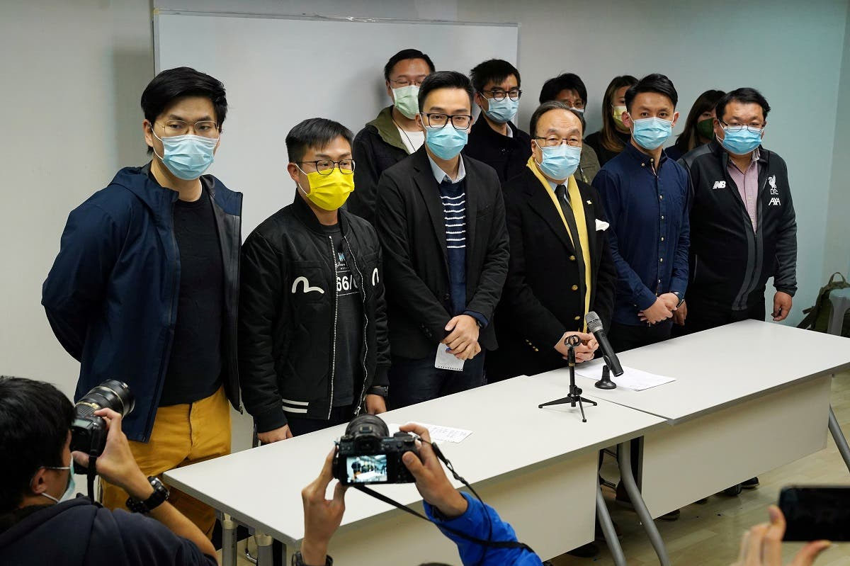 Party members of the pro-democracy camp attend a news conference after over 50 Hong Kong activists were arrested under the national security law in Hong Kong, China, on January 6, 2021. (Reuters)