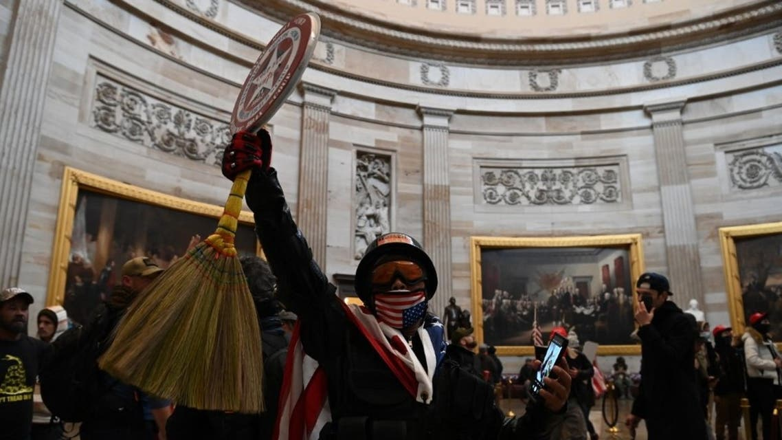 Supporters of US President Donald Trump enter the US Capitol's Rotunda on January 6, 2021, in Washington, DC.