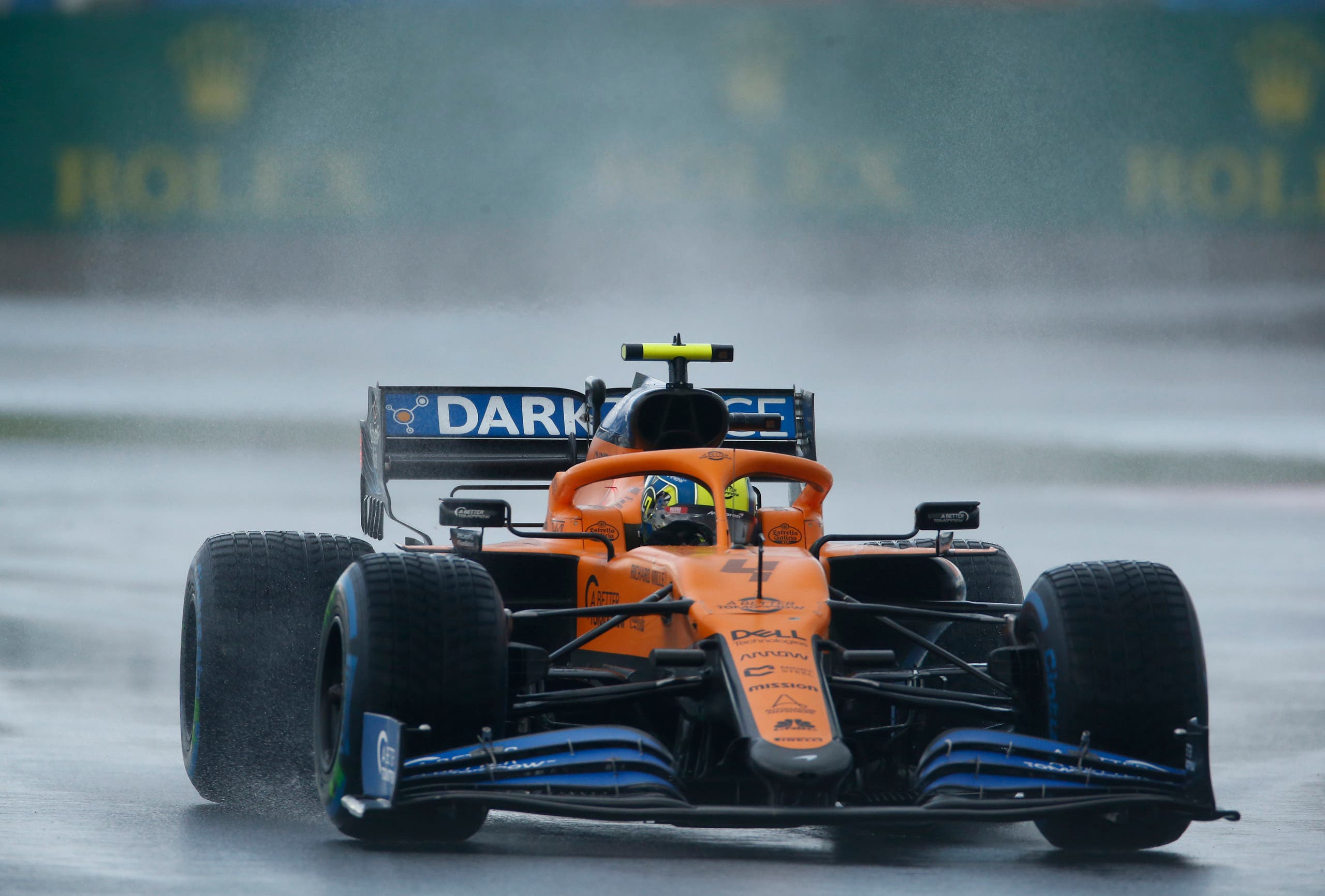 Mclaren driver Lando Norris of Britain steers his car during the qualifying session at the Istanbul Park circuit racetrack. (AP)