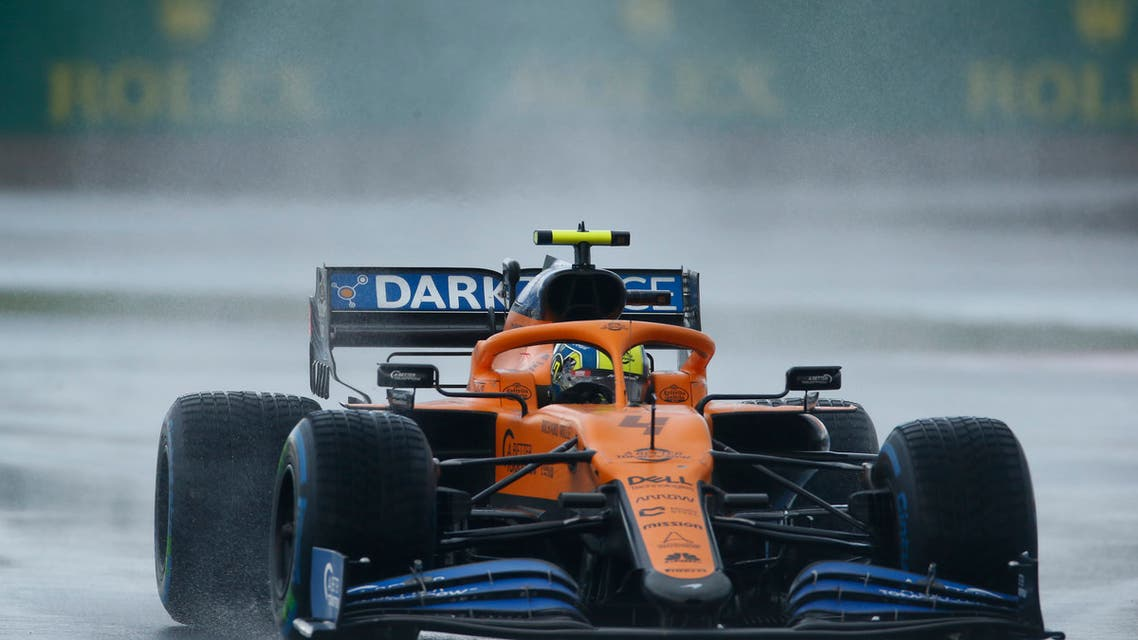 Mclaren driver Lando Norris of Britain steers his car during the qualifying session at the Istanbul Park circuit racetrack in Istanbul, Saturday, Nov. 14, 2020. Racing Point driver Lance Stroll of Canada won the pole position, Red Bull driver Max Verstappen of the Netherlands won second place and Racing Point driver Sergio Perez of Mexico won third for the Formula One Turkish Grand Prix that will take place on Sunday. (AP Photo/Kenan Asyali, Pool)