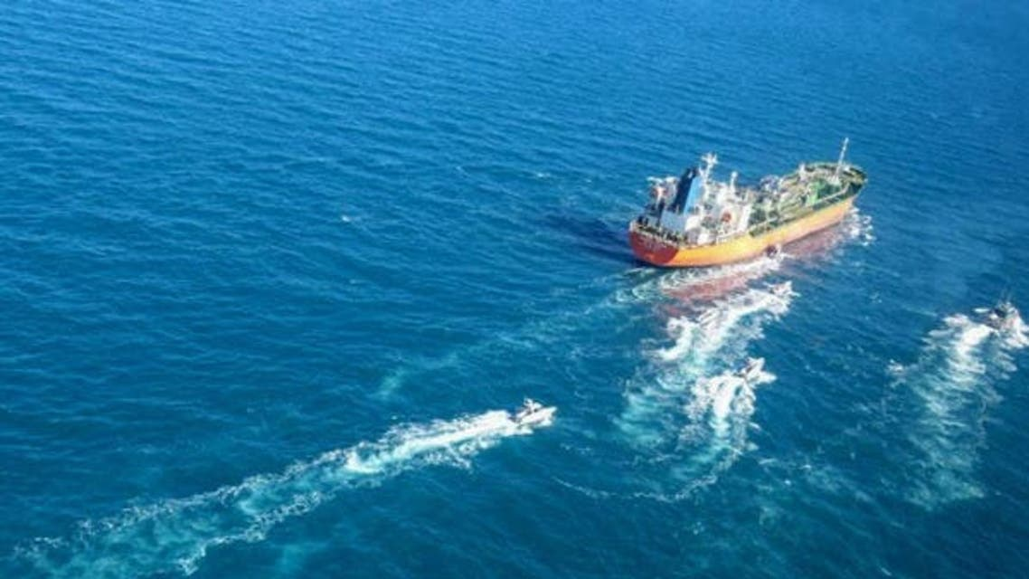 South Korean-flagged tanker being escorted by Iran's Revolutionary Guards (Tasnim News Agency)