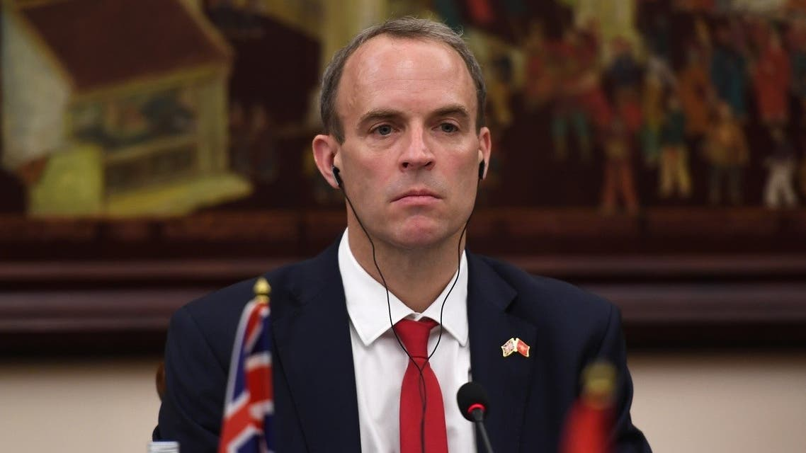 Britain's Foreign Secretary Dominic Raab attends a meeting with his Vietnamese counterpart Pham Binh Minh at the Government Guesthouse in Hanoi on September 30, 2020. (Nhac Nguyen/AFP)