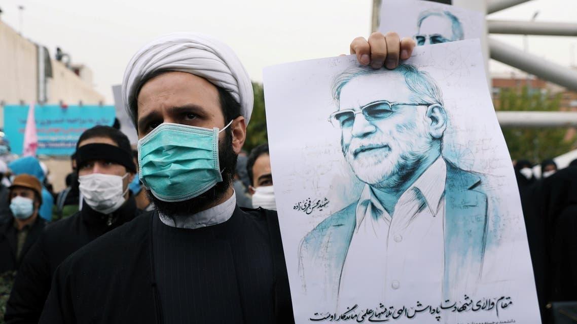 من تظاهرة في إيران للتنديد باغتيال العالم النووي فخري زاده