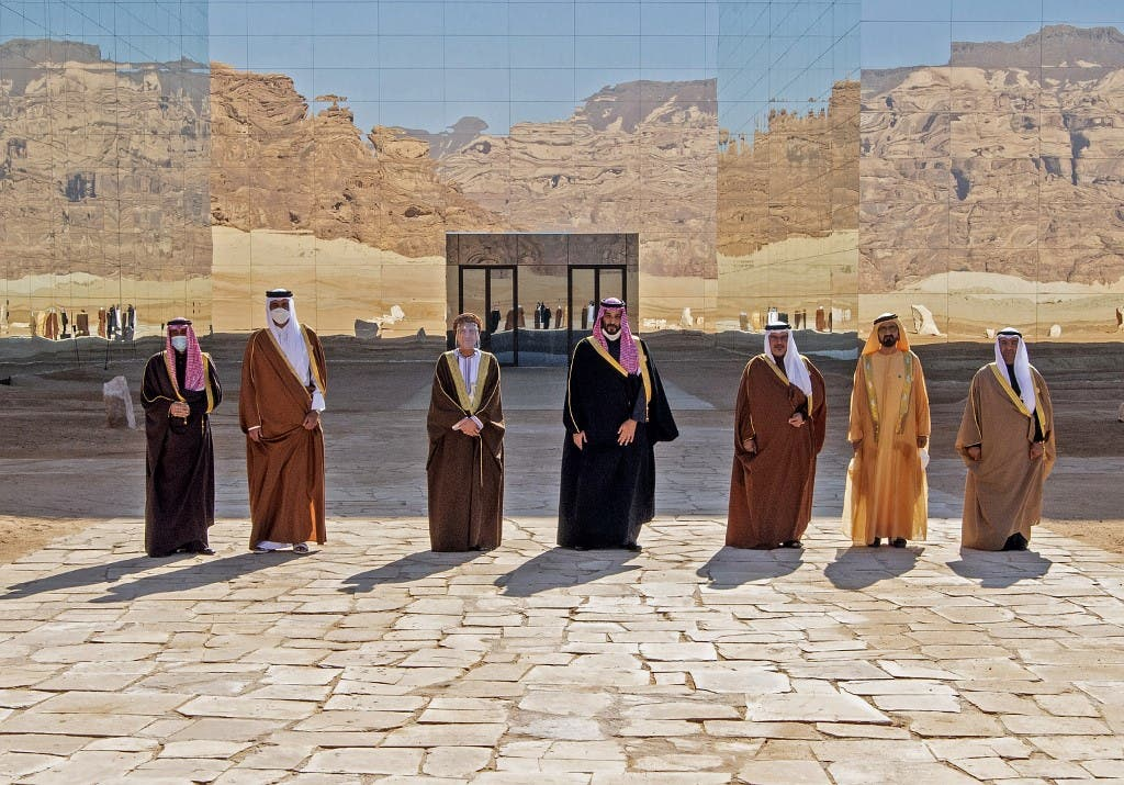 A handout picture provided by the Saudi Royal Palace on January 5, 2021, shows the leaders of the GCC countries. (AFP)