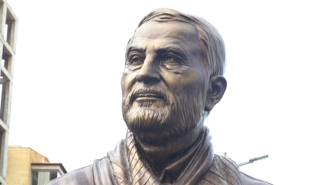 Newly unveiled statue of Soleimani in the southern suburbs of Beirut