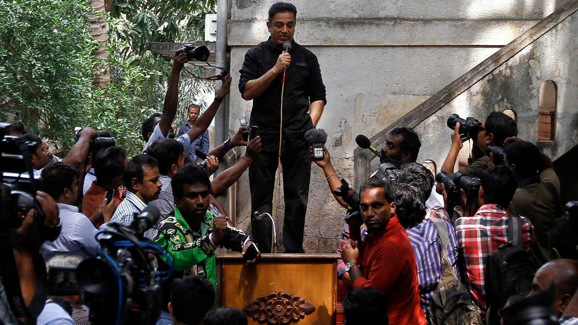 Actor and film-maker Kamal Haasan speaks with the media at his office premises in the southern Indian city of Chennai . (File photo: Reuters)