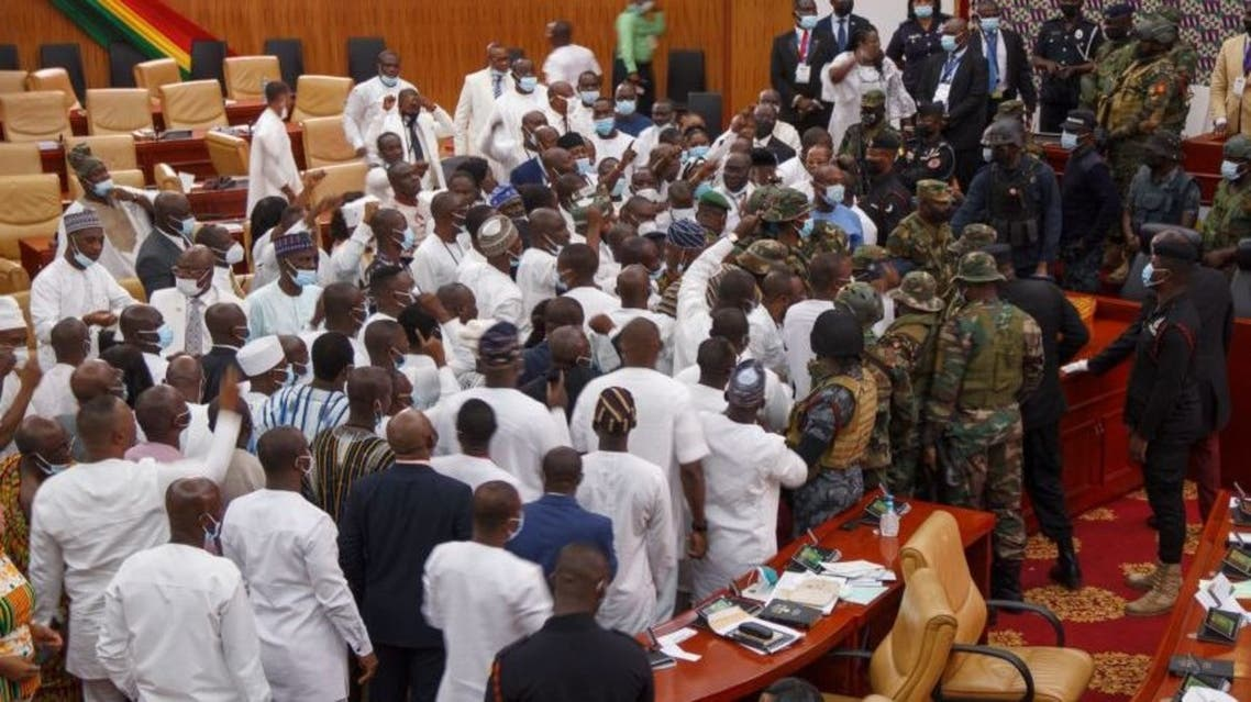 Ghanaian soldiers at the parliament of Ghana in Accra, Ghana on Jan 7, 2021. (AFP)