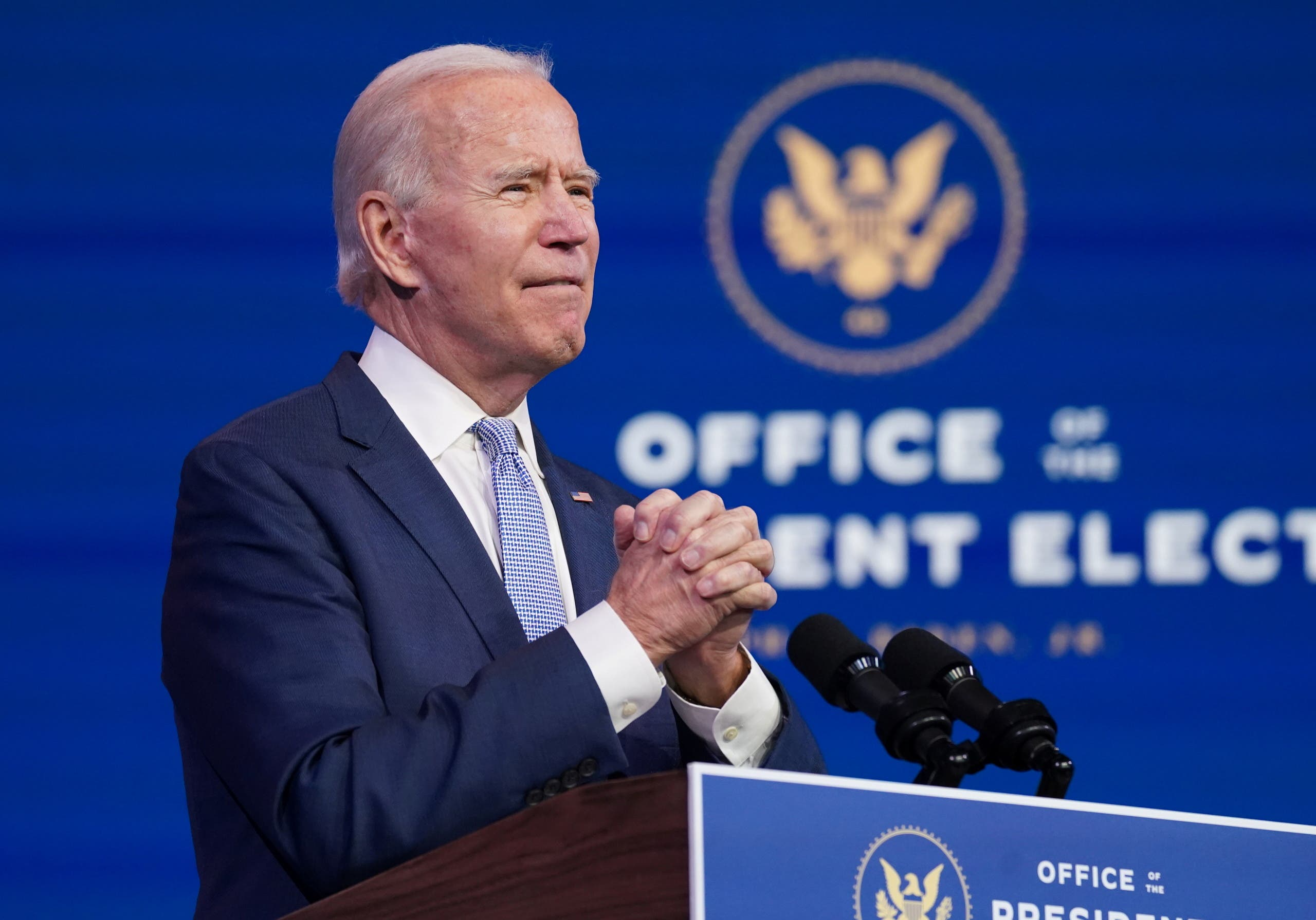 U.S. President-elect Joe Biden addresses the protests taking place in and around the U.S. Capitol in Washington as the U.S. Congress held a joint session to certify the 2020 election results, at a news conference at his transition headquarters in Wilmington, Delaware on January 6, 2021. (Reuters)