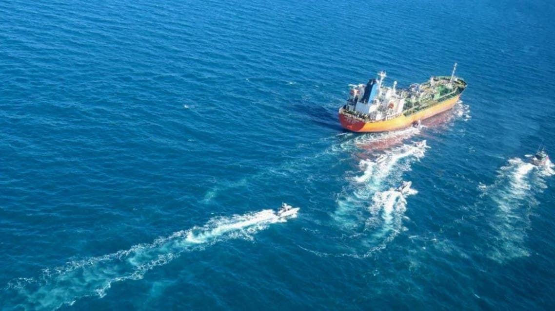 A picture obtained by AFP from the Iranian news agency Tasnim on January 4, 2021, shows the South Korean-flagged tanker being escorted by Iran's Revolutionary Guards navy after being seized in the Gulf. (Tasnim News/AFP)