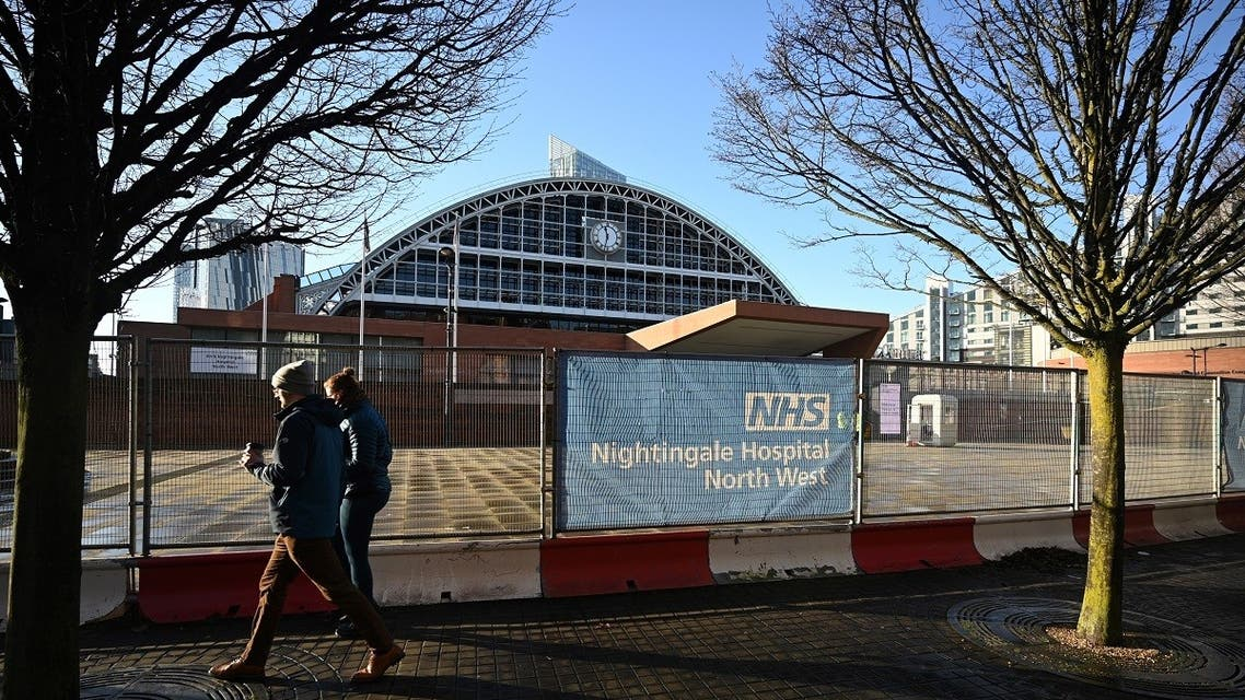 The NHS Nightingale Hospital North West field hospital at the Manchester Central Convention Complex in Manchester, north west England on January 5, 2021, as Britain enters a national lockdown to combat the spread of coronavirus. (AFP)0_8Y78Y6