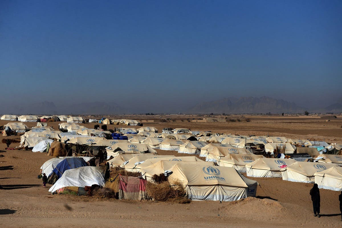 A general view shows tents at a camp for internally displaced families in Dand district of Kandahar province on January 7, 2021. (AFP)