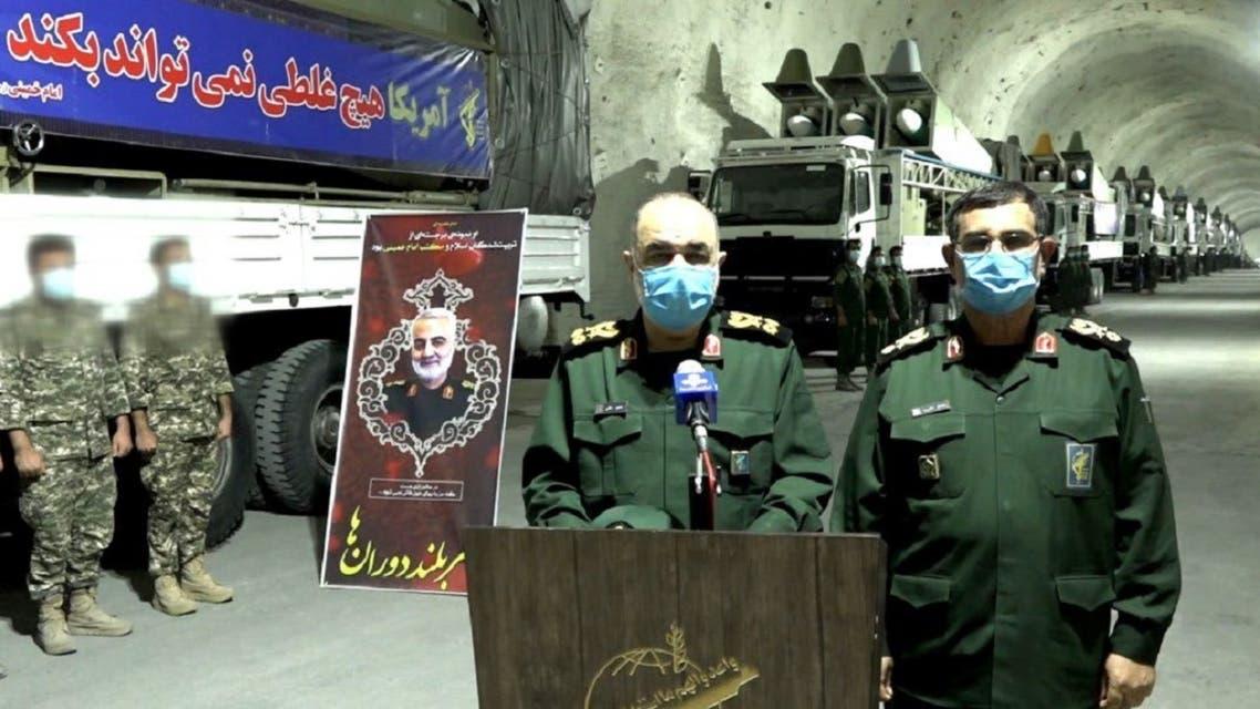 Iran's IRGC unveil an underground missile base. (Twitter)