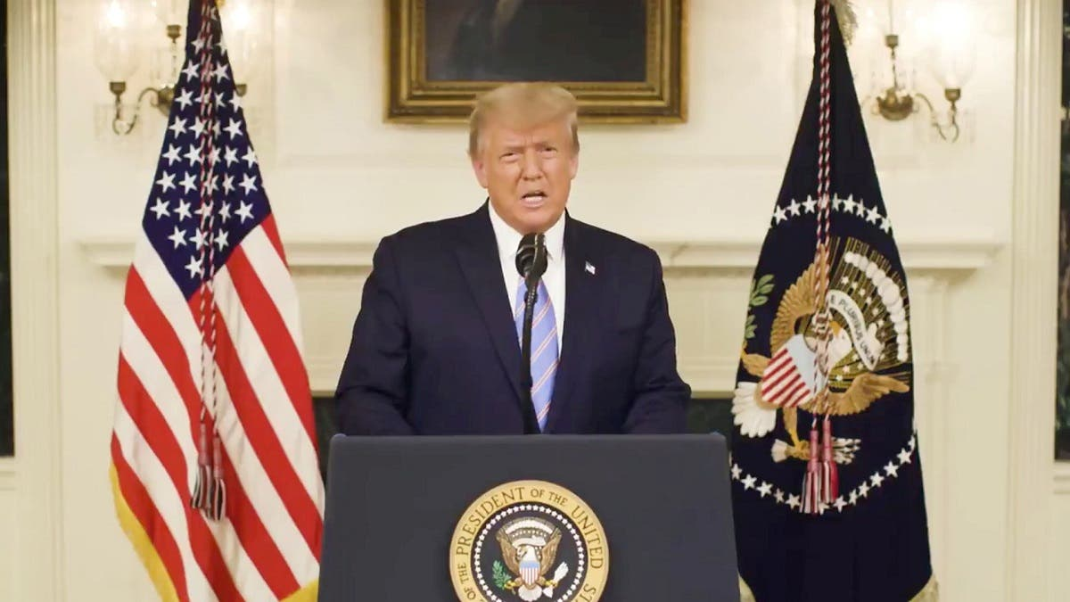 US President Donald Trump gives an address, a day after his supporters stormed the US Capitol in Washington, US, in this still image taken from video provided on social media on January 8, 2021. (Reuters)