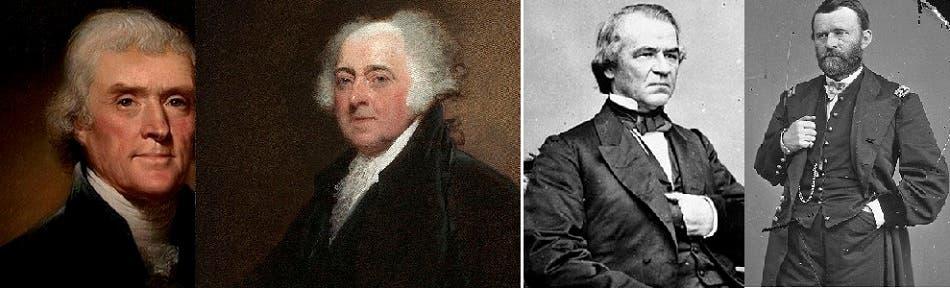 من اليمين، يوليسس غرانت وأندرو جونسون، وصورة لجون آدامز وتوماس جيفرسون، أول رافض ومرفوض بتاريخ الرؤساء الأميركيين