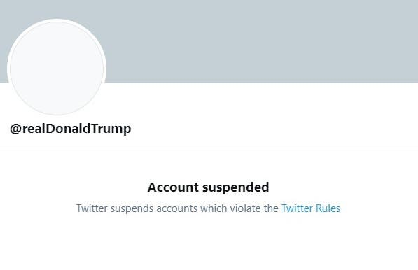 Twitter suspended US President Donald Trump's account.