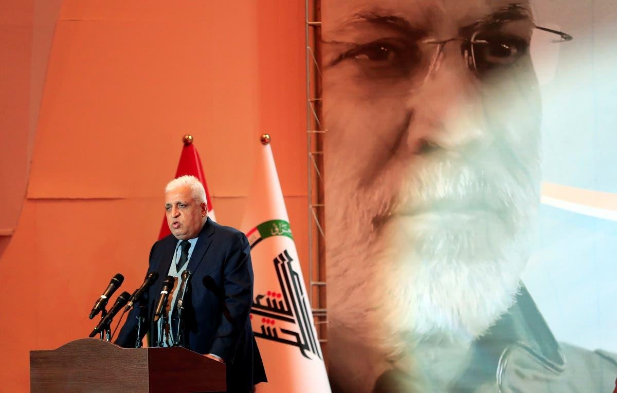 Head of the Popular Mobilization Unit militias Falih al-Fayyadh speaks during the forty days memorial, after the killing of Iran's Quds Force top commander Qassem Soleimani and Iraqi militia commander Abu Mahdi al-Muhandis. (Reuters)