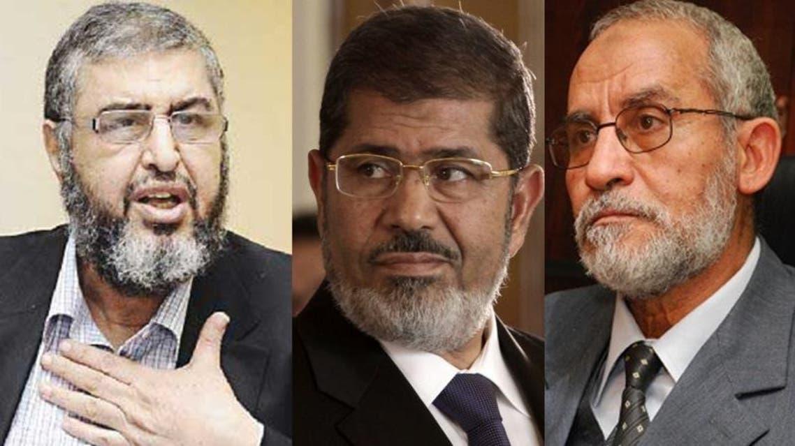 قيادات الإخوان: محمد بديع وخيرت الشاطر ومحمد مرسي