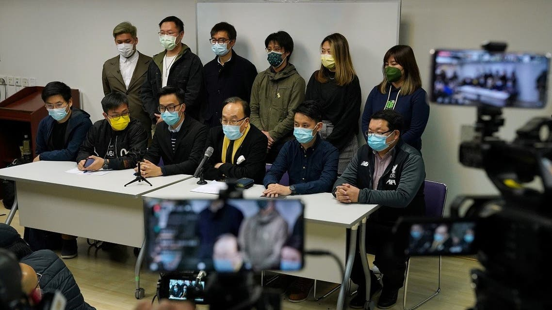 Party members of the pro-democracy camp attend a news conference after over 50 Hong Kong activists were arrested under the national security law in Hong Kong, China January 6, 2021. (Reuters/Lam Yik)