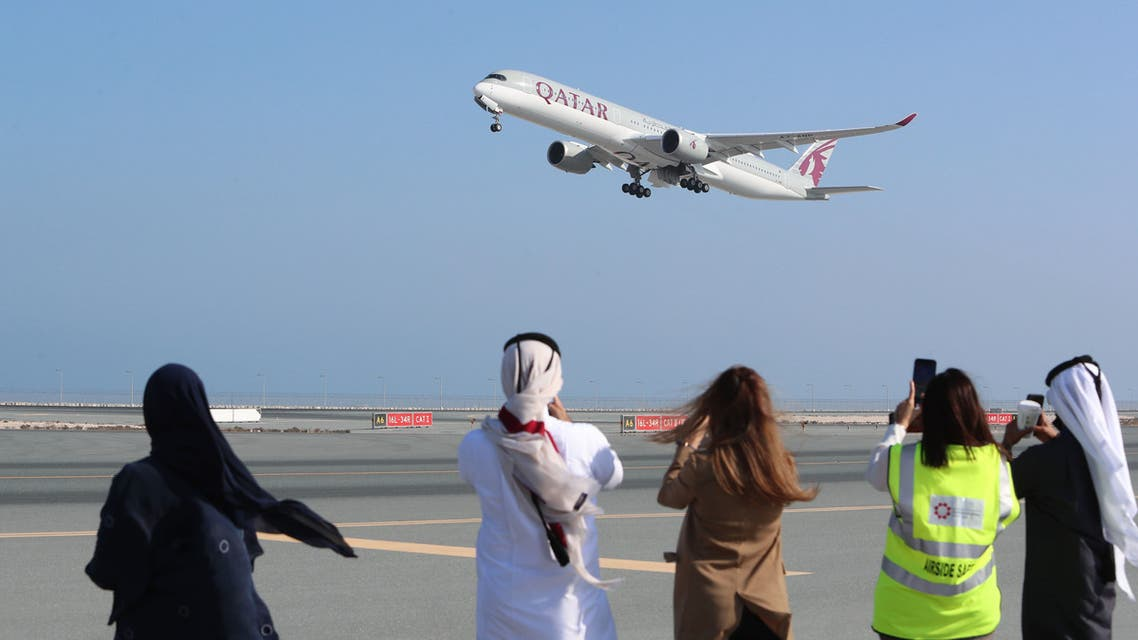 A Qatar Airways airplane takes off from Hamad International Airport near the Qatari capital Doha, on the first commercial flight to Saudi Arabia in three and a half years following a Gulf diplomatic thaw. (AFP)