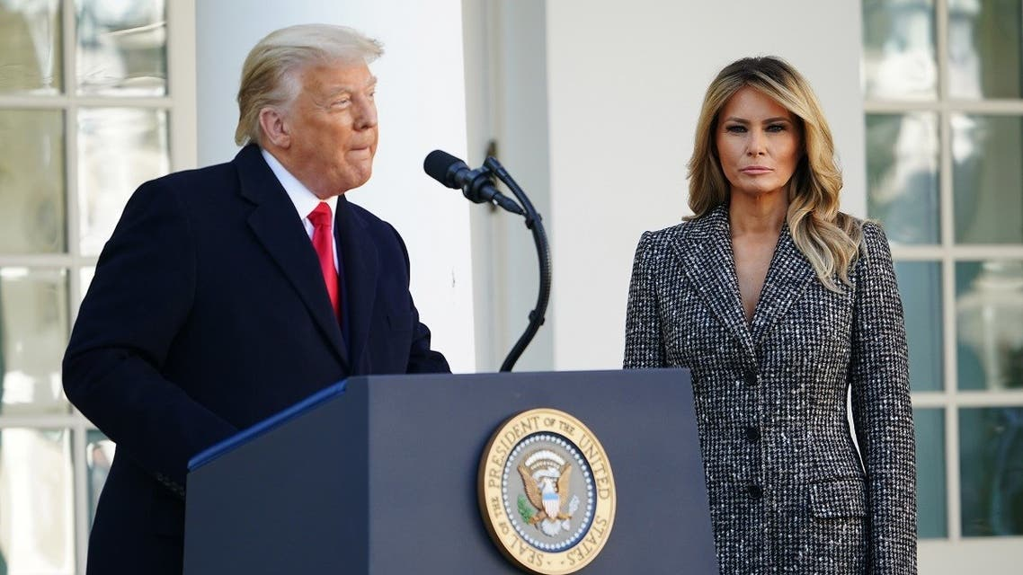 Melania Trump watches as US President Donald Trump speaks during the annual Thanksgiving turkey pardon in the Rose Garden of the White House in Washington, DC on November 24, 2020.  (Mandel Ngan/AFP)
