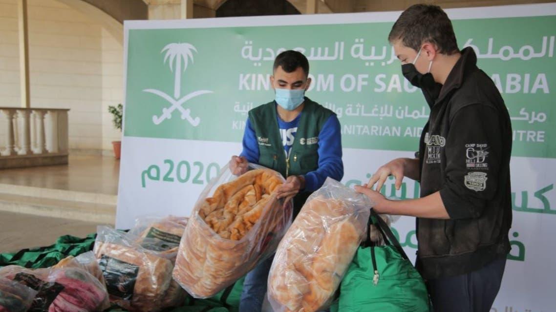 KSrelief volunteers help distribute winter kits to families in Lebanon. (Twitter)