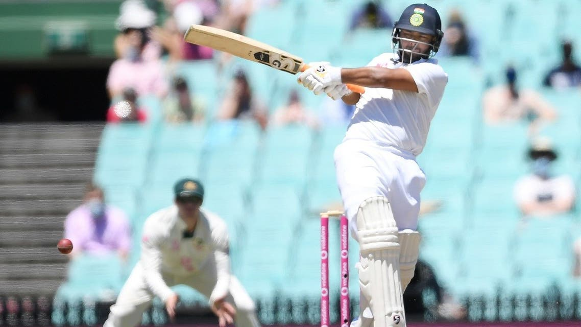 Rishabh Pant of India hits for 4 runs during the final day of the third test match between Australia and India at the SCG, Sydney, Australia, on January 11, 2021. (Reuters)