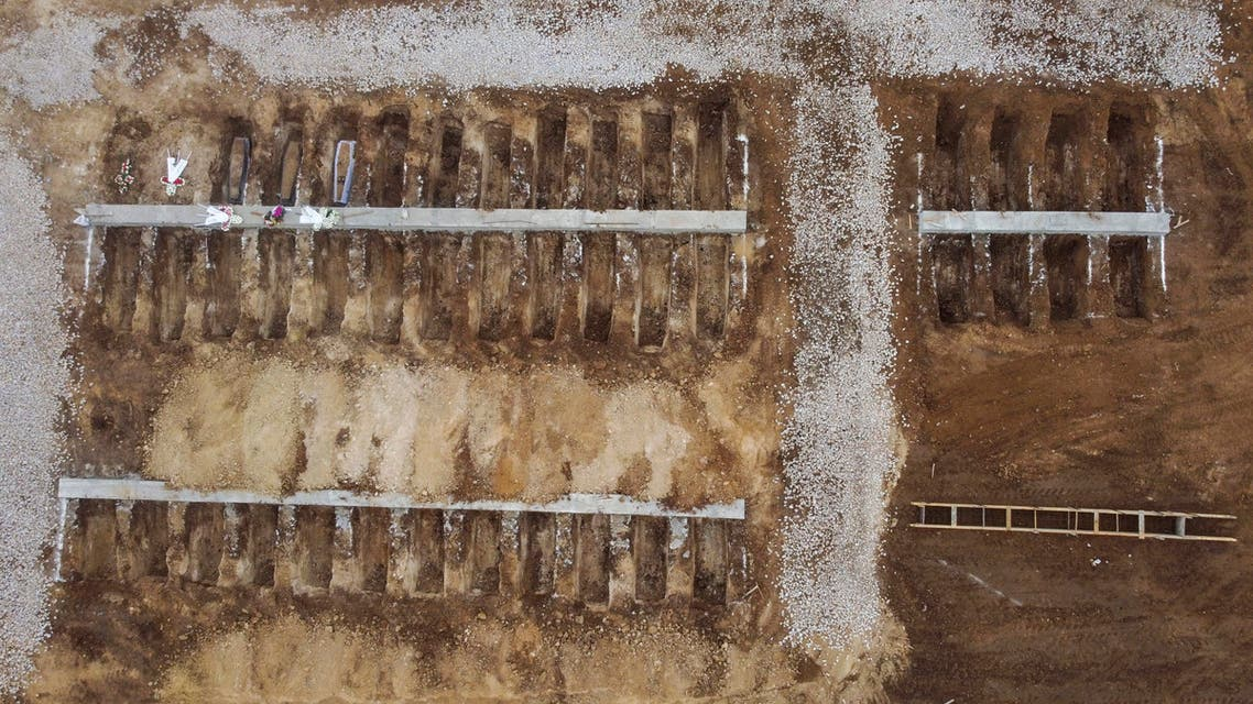 An aerial view of graves in a cemetery set up for victims of COVID-19, in the northern city of Thessaloniki, Greece. (AP)