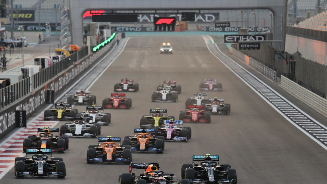 Red Bull driver Max Verstappen of the Netherlands leads at the start of the Formula One Abu Dhabi Grand Prix. (AP)