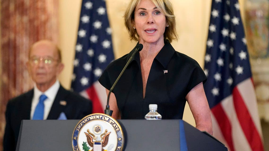 U.S. Ambassador to the United Nations Kelly Craft speaks during a news conference at the U.S. State Department in Washington.  (File photo: AP)