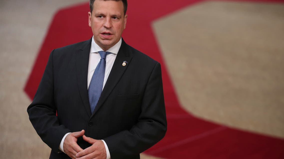 Estonia's Prime Minister Juri Ratas makes a statement as he arrives for an EU summit at the European Council building in Brussels. (AP)
