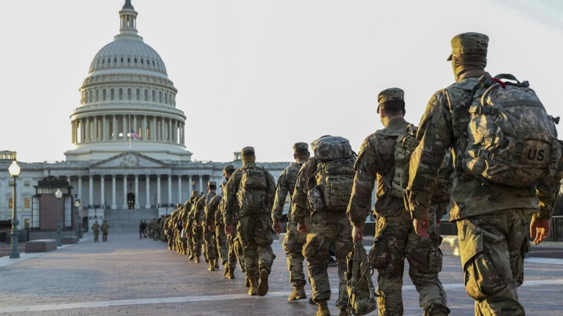 Members of the U.S. National Guard arrive at the U.S. Capitol on January 12, 2021 in Washington, DC. (AFP)