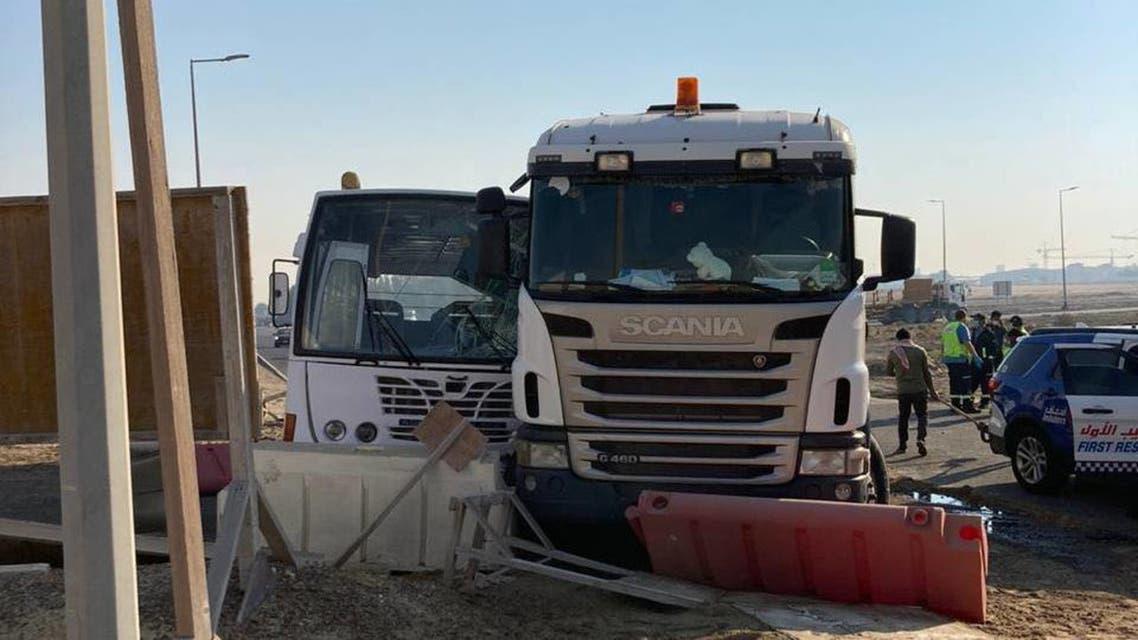 The scene of the accident on Wednesday, January 13, 2021 in Jebel Ali, Dubai. (Dubai Police via Facebook)