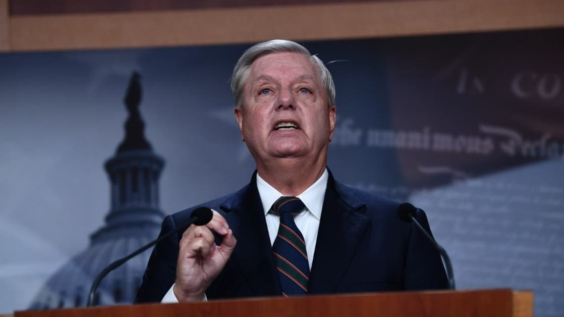 US Senator Lindsey Graham (R-SC) speaks during a news conference at the US Capitol on January 7, 2021 in Washington,DC. (AFP)