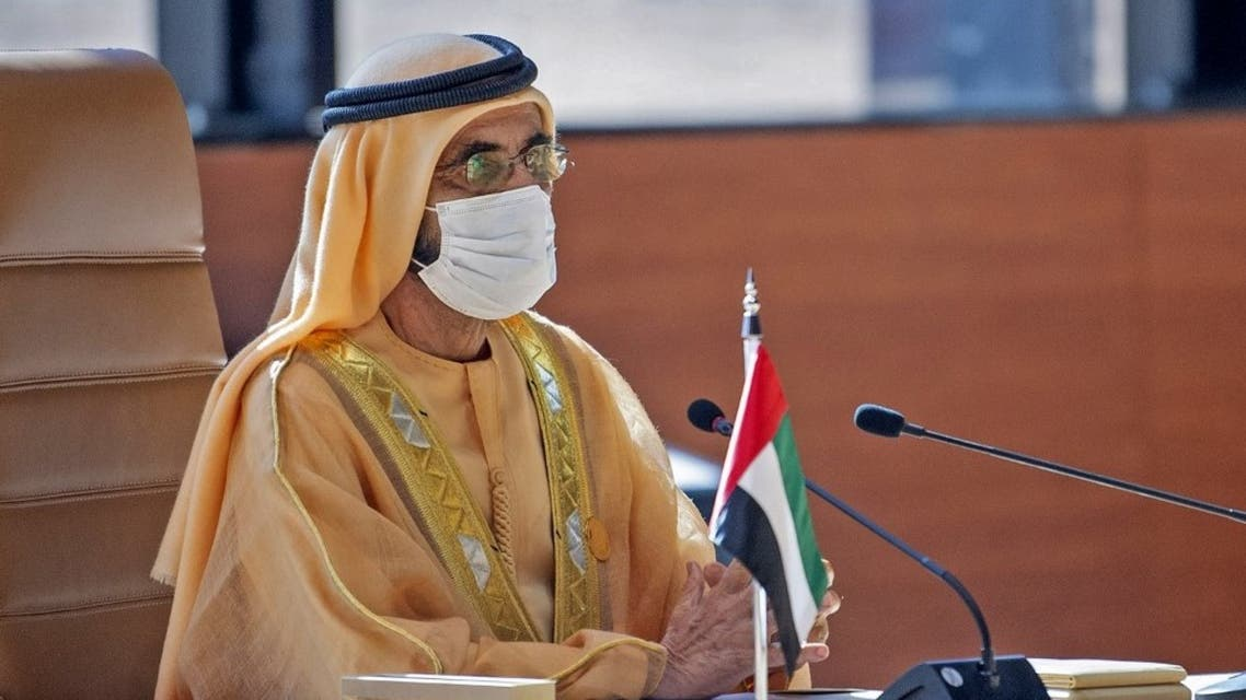 Dubai's Ruler and UAE Vice President Sheikh Mohammed bin Rashid Al-Maktoum attending the opening session of the 41st Gulf Cooperation Council (GCC) summit in the northwestern Saudi city of al-Ula. (AFP)