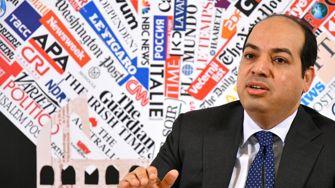 Libya's UN-backed Government of National Accord (GNA) vice president Ahmad Maitig addresses the Foreign Press association on April 16, 2019 in Rome.