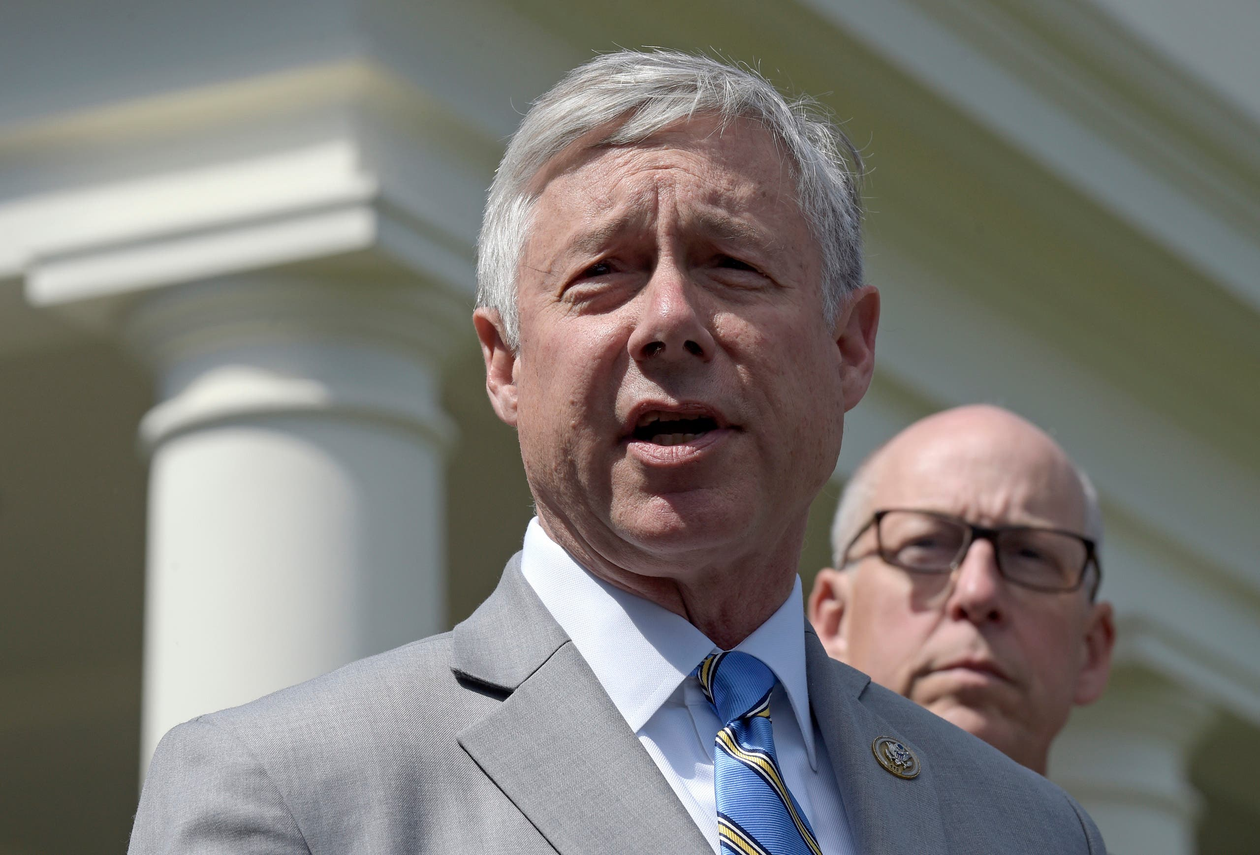 Rep. Fred Upton, R-Mich., left, speaks to reporters outside the White House in Washington. (File photo: AP)