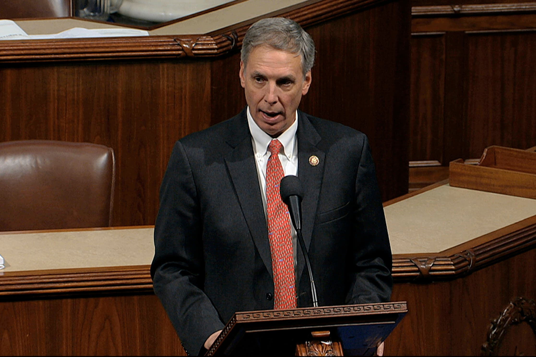 File photo, taken from video, Rep. Tom Rice, R-S.C., speaks as the House of Representatives debates the articles of impeachment against President Donald Trump at the Capitol in Washington. (File photo: AP)
