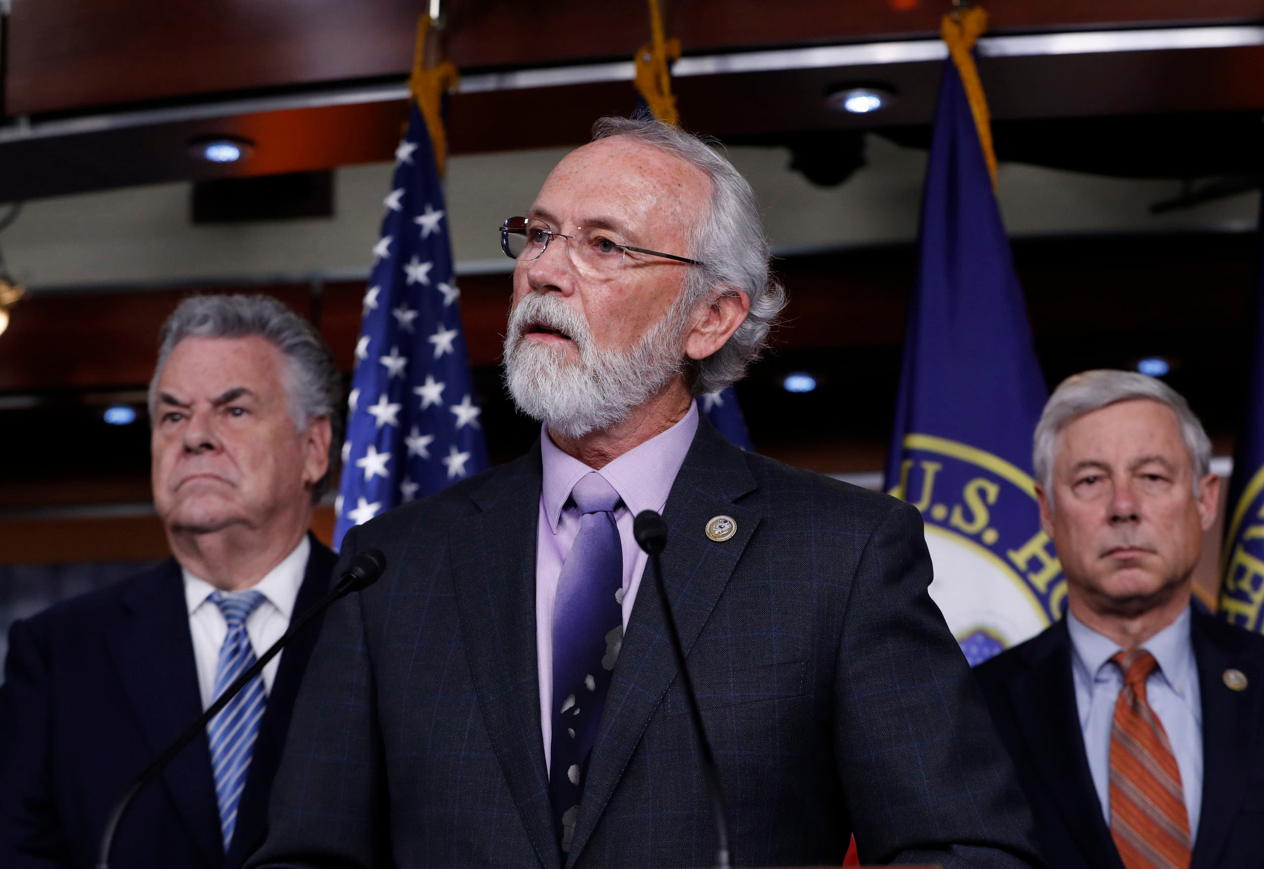Rep. Dan Newhouse, R-Wash., center, flanked by Rep. Peter King, R-N.Y., left, and Rep. Fred Upton, R-Mich., at a news conference on Capitol Hill. (AP)