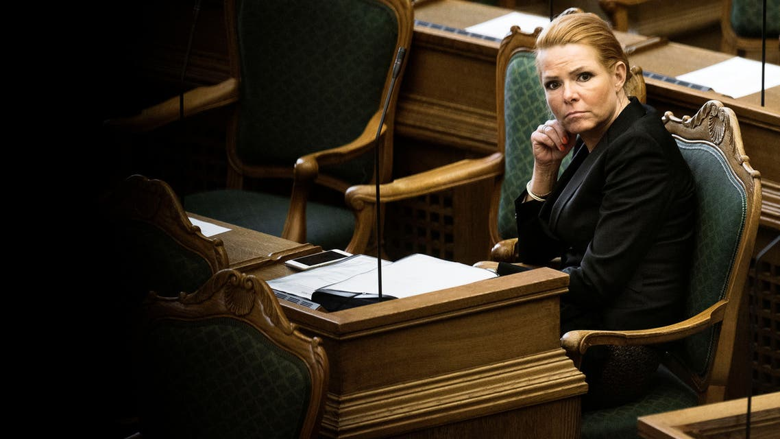 FILE PHOTO: Denmark's Minister of Immigration and Integration Inger Stojberg listens to the debate in the Danish Parliament, January 26, 2016. REUTERS/Mathias Loevgreen Bojesen/Scanpix/File Photo ATTENTION EDITORS - THIS IMAGE WAS PROVIDED BY A THIRD PARTY. FOR EDITORIAL USE ONLY. NOT FOR SALE FOR MARKETING OR ADVERTISING CAMPAIGNS. THIS PICTURE IS DISTRIBUTED EXACTLY AS RECEIVED BY REUTERS, AS A SERVICE TO CLIENTS. DENMARK OUT. NO COMMERCIAL OR EDITORIAL SALES IN DENMARK. NO COMMERCIAL SALES. ATTENTION EDITORS - THIS IMAGE WAS PROVIDED BY A THIRD PARTY. FOR EDITORIAL USE ONLY. NOT FOR SALE FOR MARKETING OR ADVERTISING CAMPAIGNS. THIS PICTURE IS DISTRIBUTED EXACTLY AS RECEIVED BY REUTERS, AS A SERVICE TO CLIENTS. DENMARK OUT. NO COMMERCIAL OR EDITORIAL SALES IN DENMARK. NO COMMERCIAL SALES.