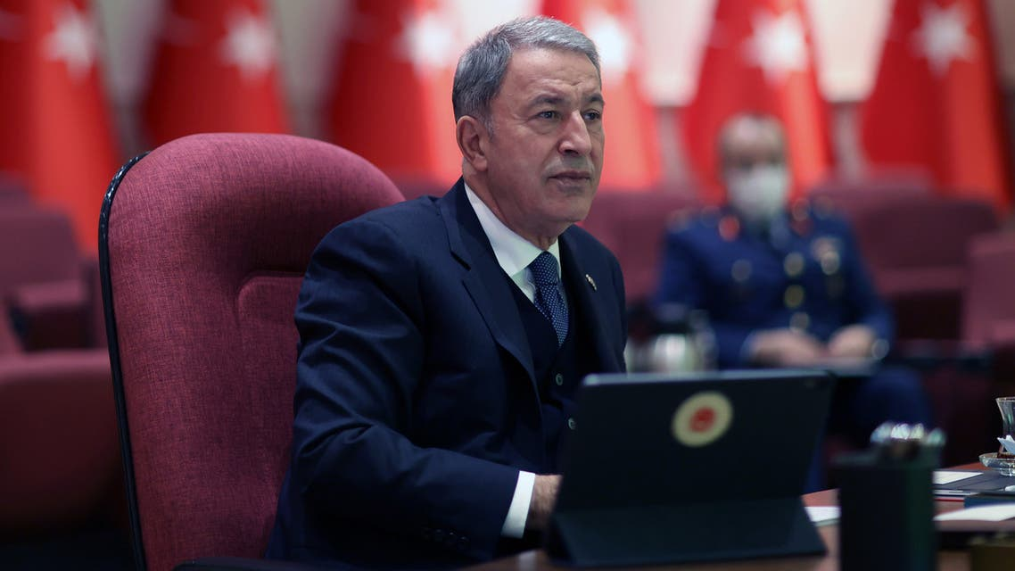 Turkish National Defence Minister Hulusi Akar gives a press conference at the ministry in Ankara on January 13, 2021.