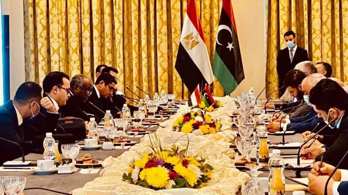 جانب من اجتماعات الوفد المصري مع بعض مسؤولي الوفاق في طرابلس في ديسمبر الماضي