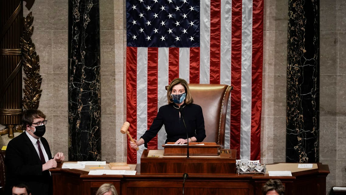 Speaker of the House Nancy Pelosi, D-Calif., gavels in the final vote of the impeachment of President Donald Trump, for his role in inciting an angry mob to storm the Congress last week, at the Capitol in Washington, Wednesday, Jan. 13, 2021. (AP)