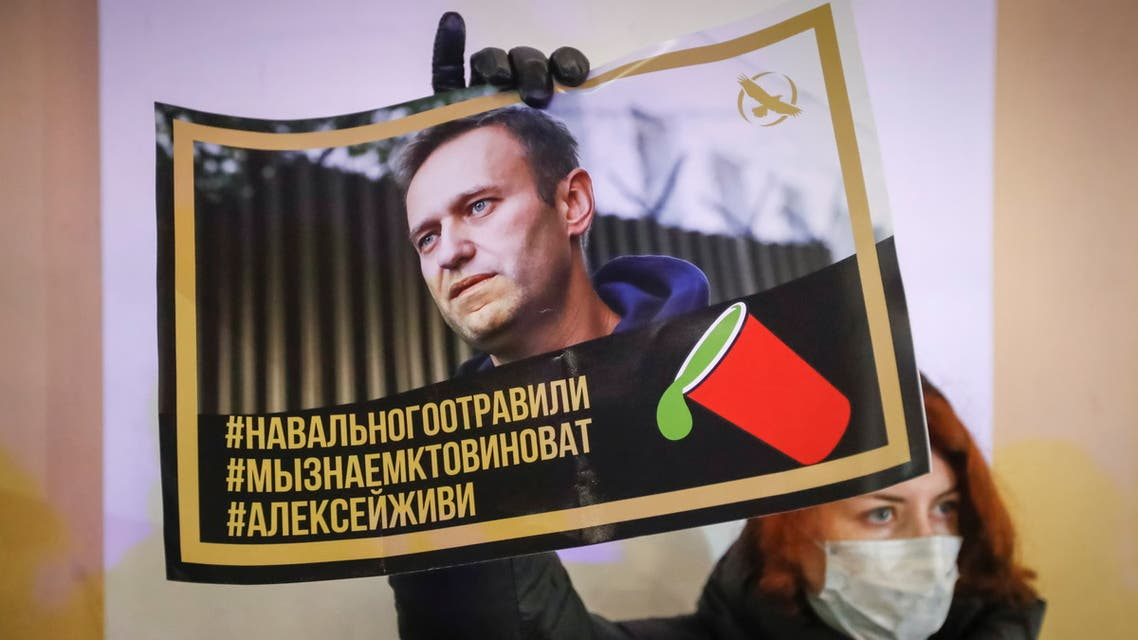 FILE PHOTO: An activist holds a portrait of opposition politician Alexei Navalny during a picket in his support in St Petersburg, Russia December 22, 2020. REUTERS/Anton Vaganov/File Photo