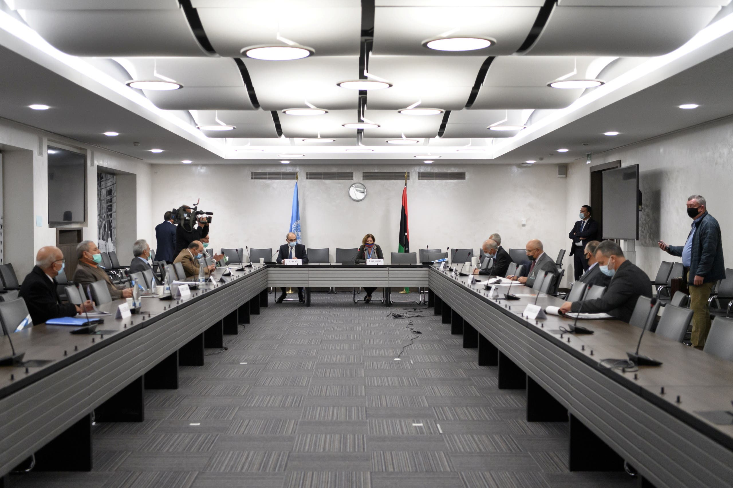 A general view of the talks between the rival factions in the Libya conflict at the United Nations offices in Geneva, Switzerland October 20, 2020 . Fabrice Coffrini/Pool via REUTERS