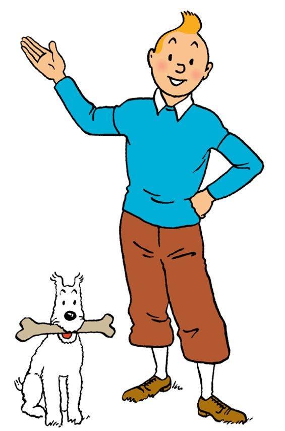 البطل الشهير تن تن مع كلبه ميلو