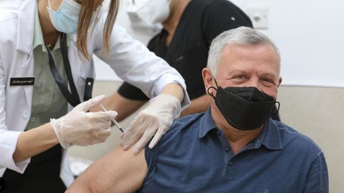 Jordan's King Abdullah II receives the coronavirus vaccine. (Reuters)